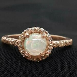 Genuine .85ctw Opal & H-SI Diamond 14K Rose Gold 925 Sterling Silver Ring SZ 6.5