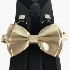 Light Champagne Gold Bow Tie &Suspender Matching Set Tuxedo Wedding Accessories