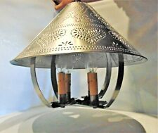 Punched Tin Pendant Light Primitive Farmhouse Ceiling Chandelier 4 Candle Sleeve