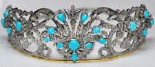 Sterling Silver Wedding Anniversary Tiara 10.70cts Rosecut Diamond Turquoise 925