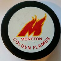 MONCTON GOLDEN FLAMES VINTAGE INGLASCO AHL HOCKEY GAME PUCK MADE IN CANADA RARE