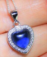 Sterling Silver (925) Sapphire Cabochon Heart & Diamond Pendant Necklace