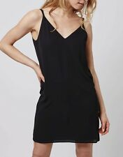 TopShop Cross Back Slip Dress Size 6 (Regular) Black Twin Strap Cami RRP £29.00