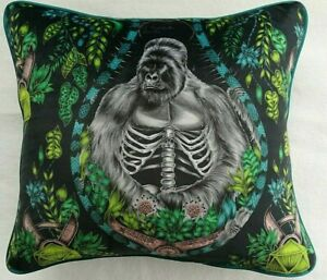 Emma J Shipley SILVERBACK CHARCOAL VELVET cushion cover 41CM