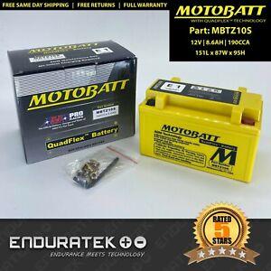 MBTZ10S Motobatt 12V AGM Battery 8.6AH 190CCA (Yuasa YTX7A-BS, YTZ10S)