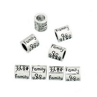 1PC Silver Tone Family Charm Bead Fits Charm Bracelet 9x8mm