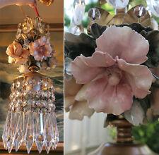 Porcelain Capodimonte Beaded Hibiscus Rose Brass chandelier Swag vintage lamp