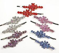 Rhinestone Hair Bobby Pin Clip Two (2) Flower Multi-Color AB