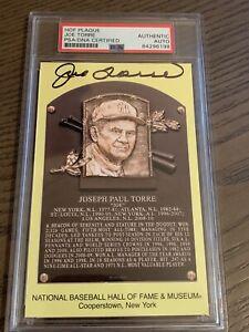 Joe Torre Signed Gold HOF Plaque Postcard Yellow Autograph NY Yankees PSA/DNA