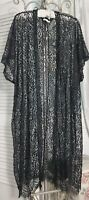 NEW Plus Size 1X Black Lace Open Long Kimono Duster Topper PT
