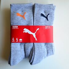 Puma Mens Sport Quater Crew Socks 3 Pairs Grey Sock Size 10-13 ShoeSize 6-12
