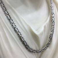 26Inch Mens Bali King Byzantine Chain Necklace 925 Silver Sterling 6.5mm 63GR