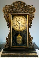 Antiguo Jerome & co pan de jengibre American llamativo Reloj Con Estuche De Roble c1850s