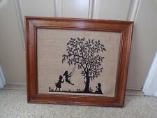 Vintage Scene on Burlap Tree Swing Silouette