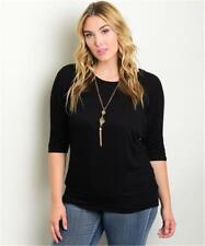 NEW..Stylish Plus Size Black Top with Bling Glam Fashion Necklace..SZ18/2XL