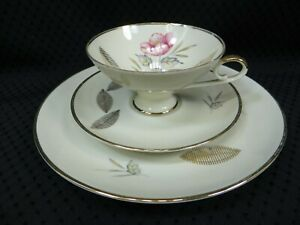 Vintage BAREUTHER WALDSASSEN Bavaria 7 1/2 inch Plate, Cup, and Saucer