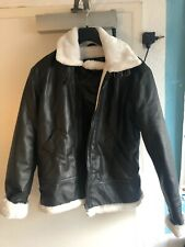 B-3 Aviator Bomber Leather Jacket Shearling Genuine Leather Black White Supreme