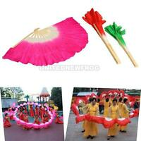 3 Color Chinese Folk Art Rose Silk Veil Bamboo Short Dancing Fan for Belly Dance