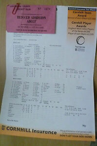 2000 Cricket Scorecard & TICKET- ENGLAND v WEST INDIES 3-7 Aug Lancashire County