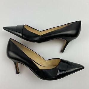 Ivanka Trump Nyle Pumps Size 8.5 M Black Leather Pointy Cap Toe Classics Patent