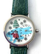 Christmas Wrist Watch Cartoon Cat Tree Snowflakes Green Leather Band - Battery