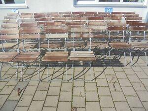 Alter Gartenstuhl Biergartenstuhl Klappstuhl Vintage Altholz Holz Metall 2+2 br