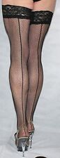 3 Pairs Large Black Seamed Fine Fishnet Luxury Lace Top Nylon/Lycra Holdup
