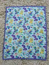 Nursery Print Quilt Purple Pink Turquoise Handmade Nursery Cot Crib Blanket