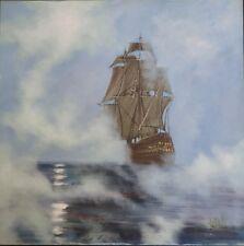 """Vintage Lee Reynolds Vanguard Studios Oil Painting Sailing Ship in Fog 40"""" x 40"""""""