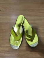 Jimmy Choo Women Pathos Yellow Patent Leather Cork Wedge Sandals US Size 9