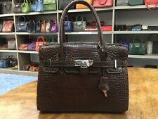 Fashion Real Crocodile Leather/ Alligator Handbag  For Women - Brown