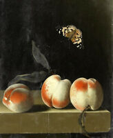 Dream-art Oil painting still life fruits peaches with insect butterfly canvas