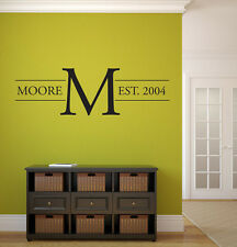 """Last Name Family Monogram Wall Vinyl Decal Graphic 58"""" wide Home Decor Family"""