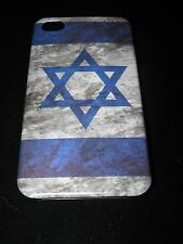 Israel Cover Case for iPhone 4 4s Israel Flag Vintage Look on Black Case