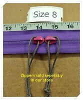 "2 YKK Silent Reverse Zipper Sliders for #8 Coil Zipper ~color~F190 ""Pink"""