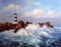 No framed oil painting seascape ocean waves with lighthouse rocks free shipping
