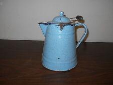 ANTIQUE PRIMITIVE LARGE BLUE AND WHITE GRANITE COFFEE POT
