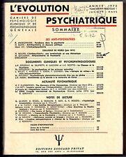 L'EVOLUTION PSYCHIATRIQUE 1972 n°1 HENRI EY ANTI-PSYCHIATRIE DOSUZKOV PHOBIE