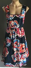 Gorgeous Design BASQUE Multi Colour Floral Print Sleeveless Tea Dress Size 16