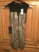 Bebe Gold Sequin Dress Xs NWT