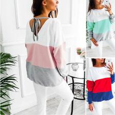 NEU Damen Pullover Bluse T-Shirt Langarm Shirts Pulli Rückenfrei Sweatshirt