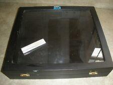 "Rare Zippo Blu Showcase Black with Key Display 12"" x 13.25"" x 3"" Glass Top"