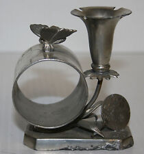 Victorian Silver Plated Napkin Ring Butterfly Bud Vase Simpson Hall Miller #024