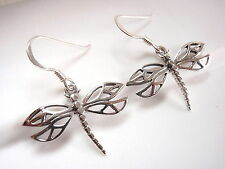 Dragonfly Split Wing Dangle Earrings 925 Sterling Silver Corona Sun Jewelry