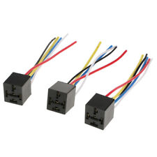 3x Prewired Car Automotive 12V/24V 40A 5 Pin Relay Socket Harness Holders