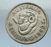 1952 AUSTRALIA King George VI of United Kingdom Silver Shilling Coin RAM i66845