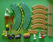 Geotrax 28pc. Lot Tracks Train Railway Signs Tree Curved Raised Track Toys GUC