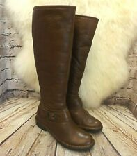 Womens Dorothy Perkins Tan Leather Low Heel Knee High Boots Size UK 4 EUR 37