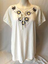 Jones New York Beige Tie Crochet V Neck Women's Short Sleeve Top Shirt Size 1X