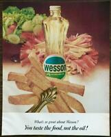 1964 Wesson Oil Print Ad You Taste Food Not Oil Basket of French Fries Salad
